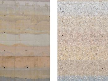 Sample walls to test the color development before and after the grinding of the surface